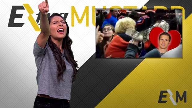 Mustard Minute: Elderly Flyers fan throws bra on ice for Brayden Schenn's hat trick IMG