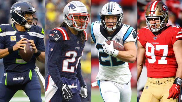 Russell Wilson, Stephon Gilmore, Christian McCaffrey, Nick Bosa
