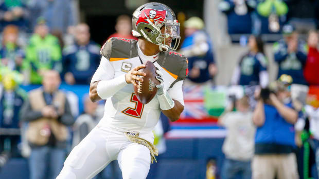 Nov 3, 2019; Seattle, WA, USA; Tampa Bay Buccaneers quarterback Jameis Winston (3) looks to pass against the Seattle Seahawks during the first quarter at CenturyLink Field. Mandatory Credit: Joe Nicholson-USA TODAY Sports