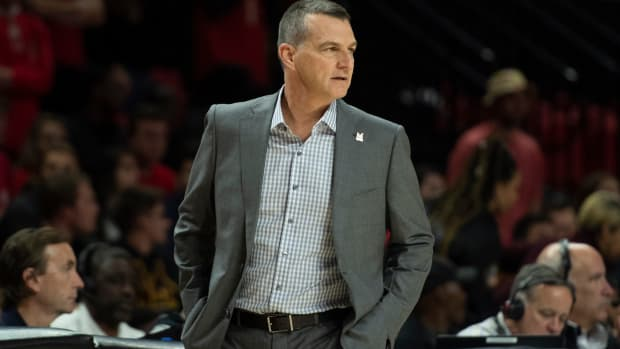 Maryland Terrapins head coach Mark Turgeon looks onto the court during the first half against the Holy Cross Crusaders at XFINITY Center. Mandatory Credit: Tommy Gilligan-USA TODAY Sports