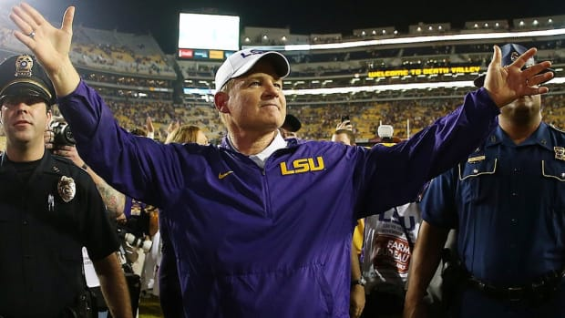 The right man in the right place: Les Miles is glad to be back at LSU after last year's attempted coup