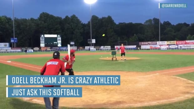 Odell Beckham Jr. crushes a home run at a celebrity softball game--IMAGE
