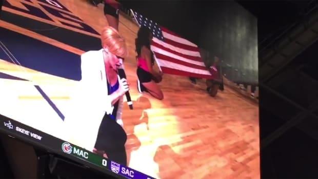 Kings national anthem singer takes knee during performance - IMAGE