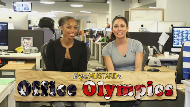 Three-time Olympic champion runner Allyson Felix participates in Extra Mustard Office Olympics IMG
