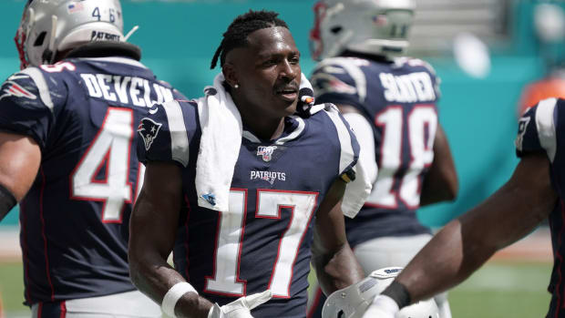 NFL player Antonio Brown in a New England Patriots uniform
