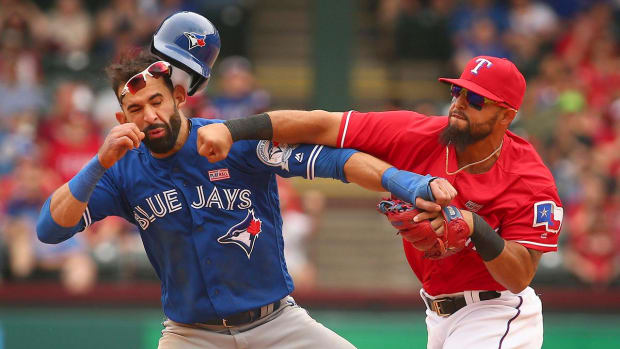 Blue Jays, Rangers brawl after Jose Bautista takeout slide--IMAGE