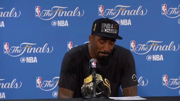 J.R. Smith thanks parents in emotional postgame press conference IMAGE