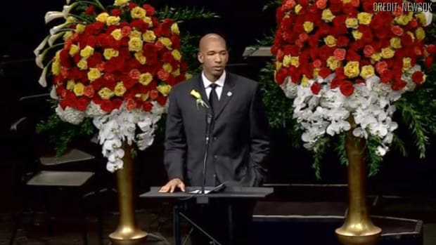 Thunder's Monty Williams delivers eulogy at wife's funeral - IMAGE