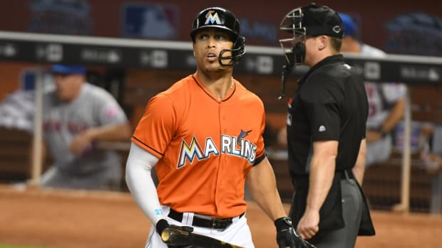 Marlins OF Giancarlo Stanton out for season, team will consider signing Alex Rodriguez --IMAGE