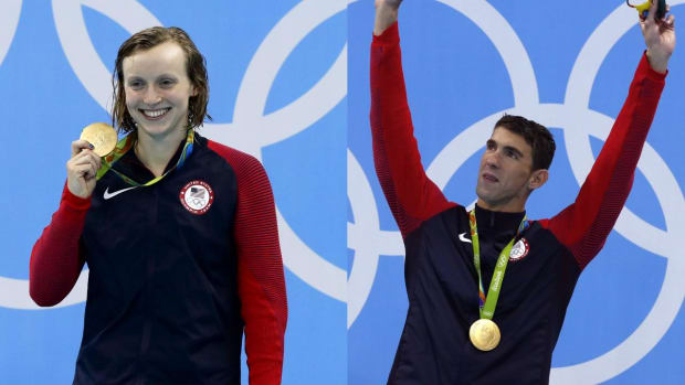 Signature moments in the pool: Michael Phelps and Katie Ledecky IMAGE