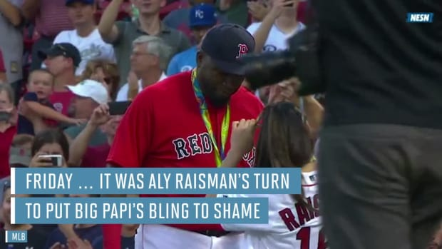 Aly Raisman throws out first pitch, David Ortiz wears medals--IMAGE
