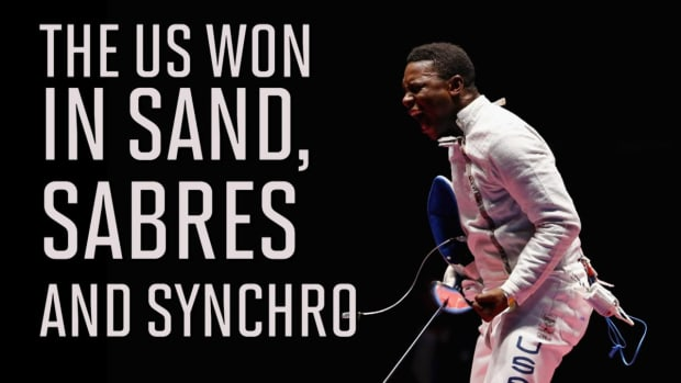 USA wins in sand, sabre, and synchro on Wednesday - IMAGE