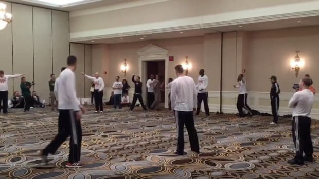 Watch: Miami prepares for Sweet 16 with a game of 'ballroom baseball'