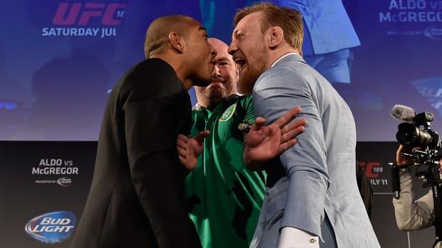 UFC 189 presser McGregor Aldo faceoff