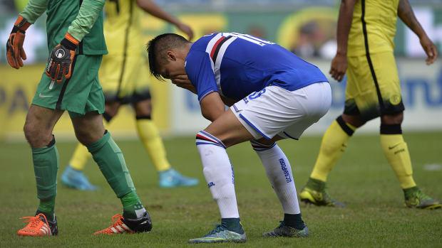 Watch: Sampdoria attacker Joaquin Correa misses wide open goal--image