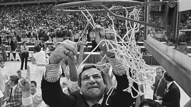 Dean Smith cutting nets top