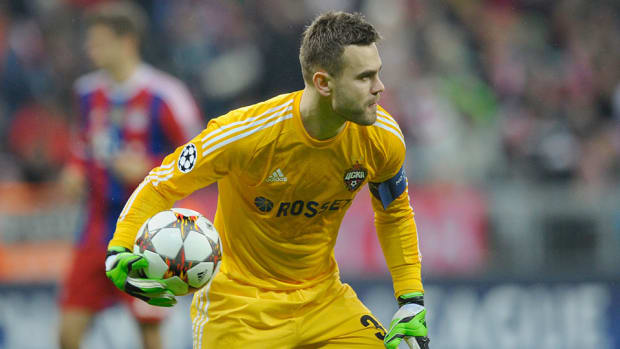 russia Igor Akinfeev hit flare game suspended