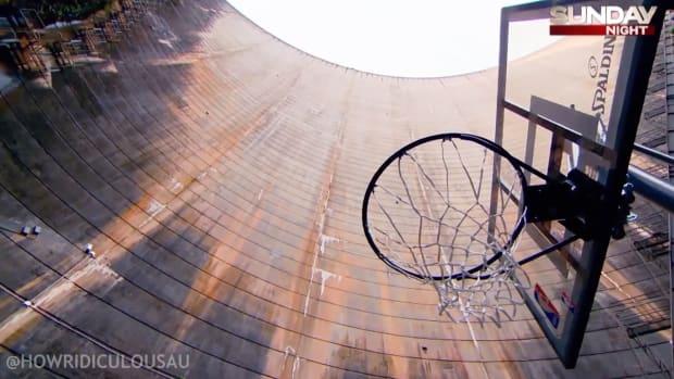 Watch: Basketball trick shot from 415-foot dam