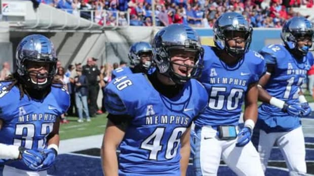 Memphis to honor tornado victims with Birmingham Bowl helmet decals--IMAGE