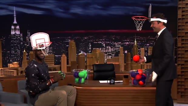 Watch: LeBron James dunks on Jimmy Fallon--IMAGE