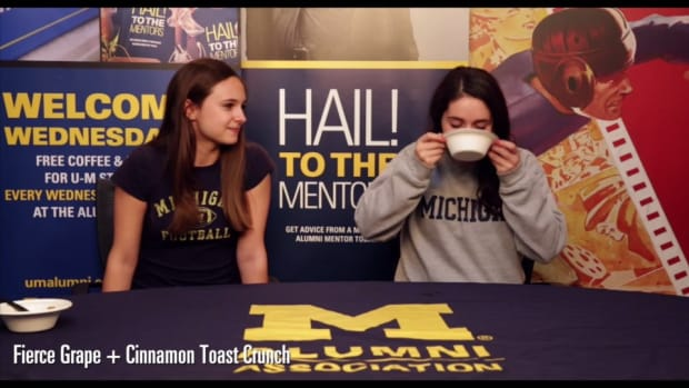 Michigan Students mix cereal and Gatorade in Harbaugh Breakfast Challenge