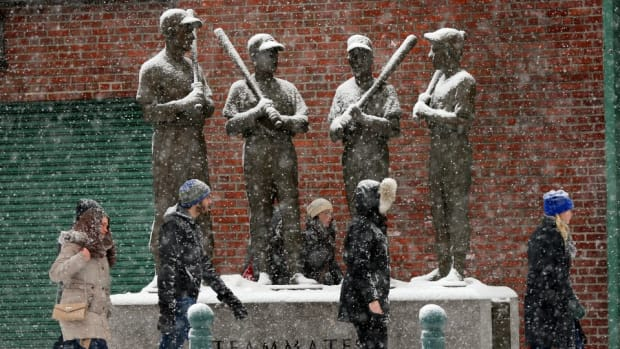 Boston Red Sox made a snowman in florida