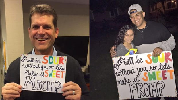 Jim Harbaugh 'borrows' recruit's prom proposal - image