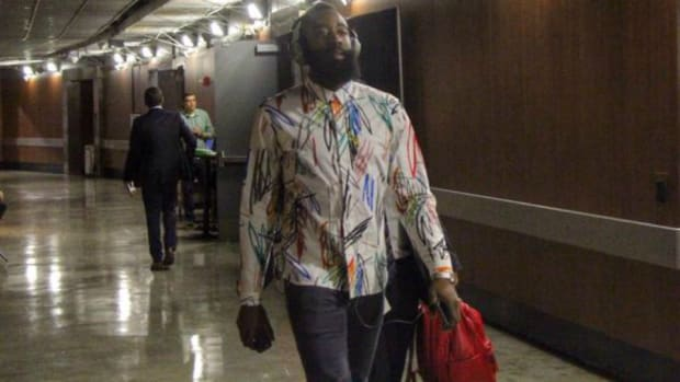 James Harden wore a scribbled on shirt to the Rockets game