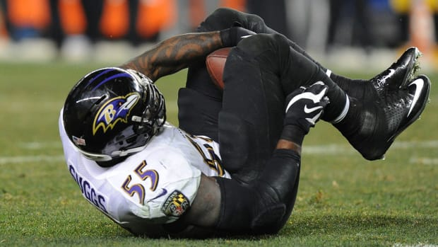 Watch: Terrell Suggs makes crucial INT with his legs - image