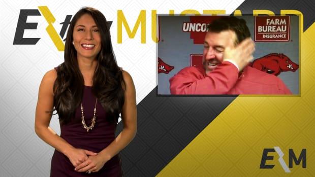 Mustard Minute: Arkansas head coach Bret Bielema looking forward to 'hopping on wife' IMG