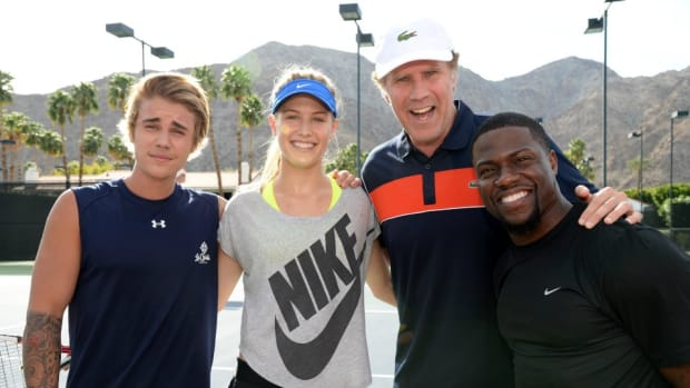 Justin Bieber, Eugenie Bouchard play doubles at charity event