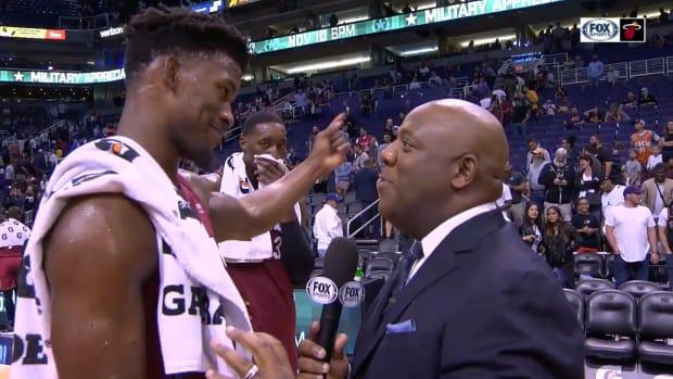 Jimmy Butler jokes with Heat teammates