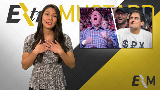 Mustard Minute: Mark Cuban and Steve Ballmer exchange kisses on Kiss Cam IMG
