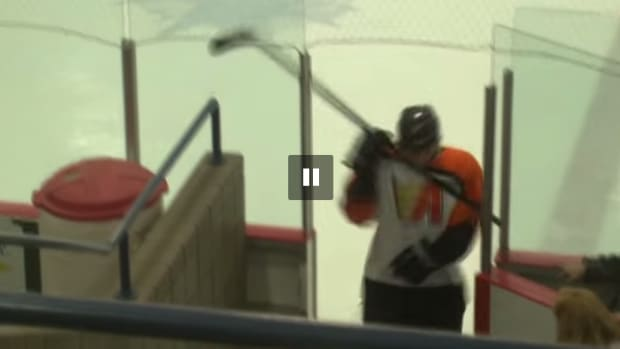 junior hockey player alpena flyers stick head video