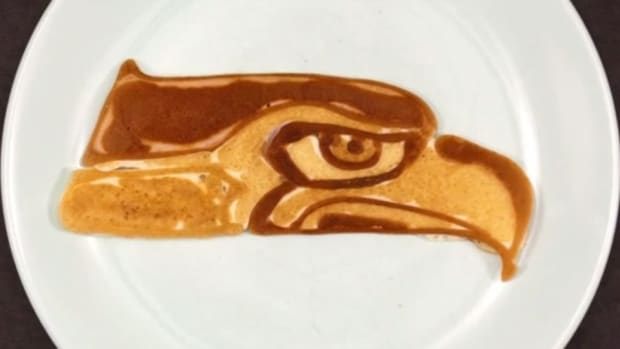 NFL Logos drawn with pancake batter