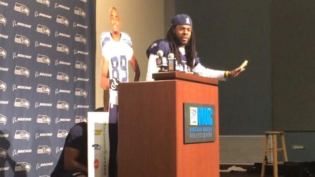 Richard Sherman, Doug Baldwin mock NFL in press conference IMAGE