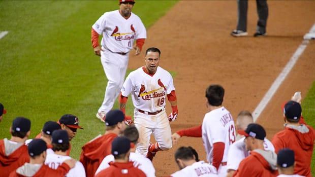 Kolten Wong Cardinals walk-off home run celebration NLCS Game 2