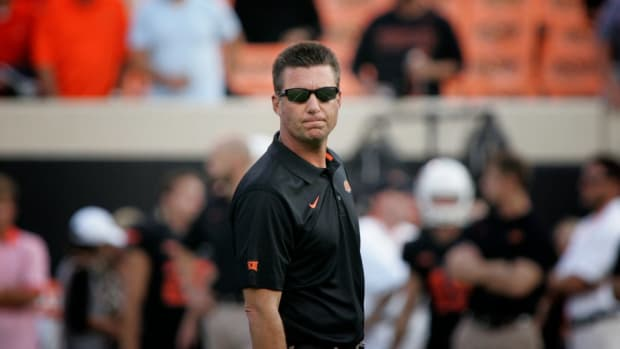 "Oklahoma state Mike Gundy tried to trademark, ""I'm a man, I'm 40"""