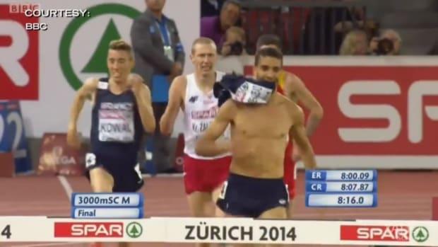 Steeplechase runner Mahiedine Mekhissi-Benabbad is dq'd for removing his shirt before the race is over