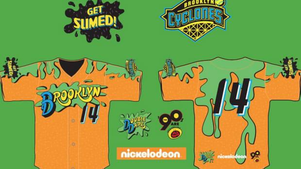 New York mets affiliate Brooklyn Cyclones will wear slimed nickelodeon jerseys