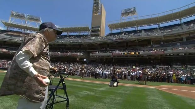 san diego padres first pitch old woman