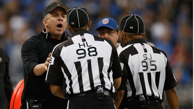 Saints coach Sean Payton frustrated with officials in Lions game