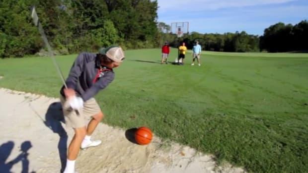 Basketball golf hybrid trick shot video