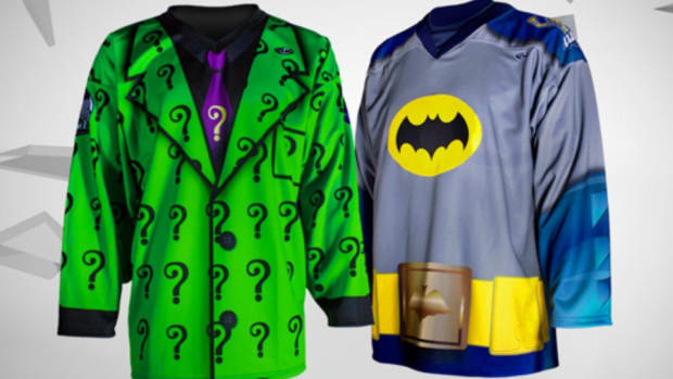 Batman and Riddler jerseys for minor league hockey game