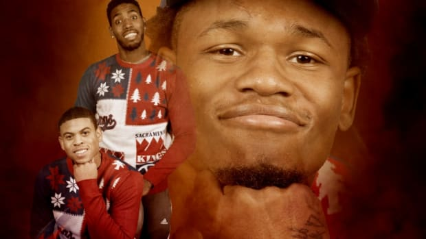 Sacramento Kings ugly Christmas sweaters photoshoot