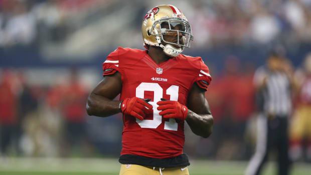 San Francisco 49ers receiver Anquan Boldin head butt official penalties