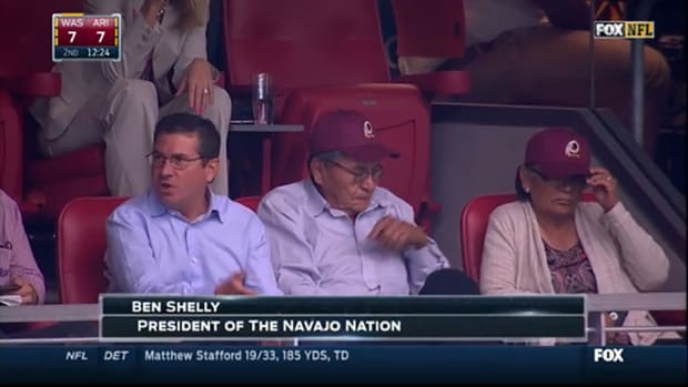 Daniel Snyder sits with Navajo Nation president at game