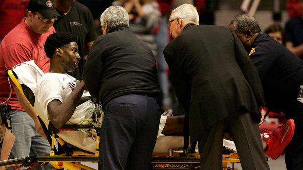 SDSU player collapses on court