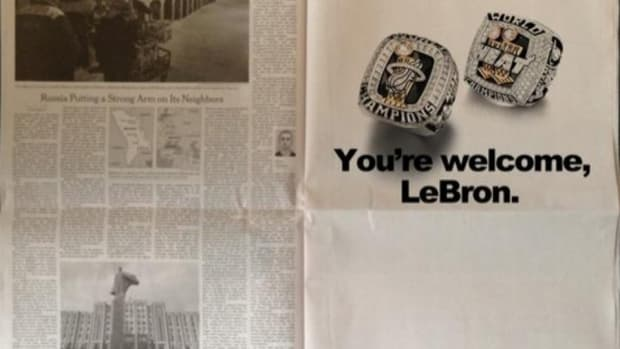 LeBron James proposed ad for Cleveland newspaper