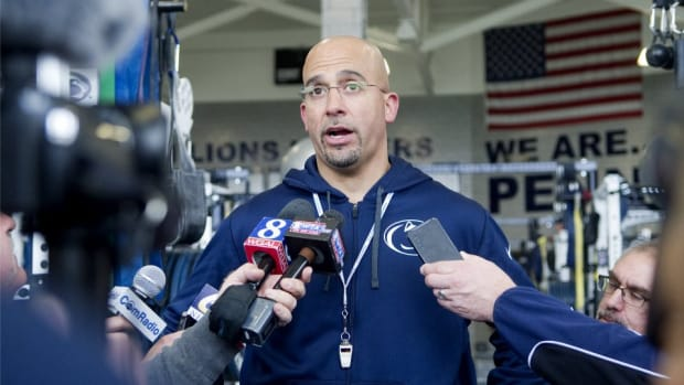 Penn State coach James Franklin tweets video of his daughter hitting blocking sled